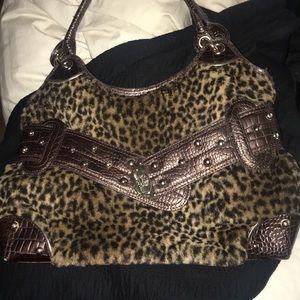Kathy Brown faux leather fur cheetah print purse